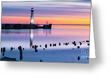 Wawatam Lighthouse In Colorful Predawn Light Greeting Card