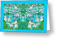 Waxleaf Privet Blooms In Aqua Hue Abstract With Aqua Frame Greeting Card