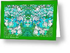 Waxleaf Privet Blooms In Aqua Hue Abstract With Green Frame Greeting Card