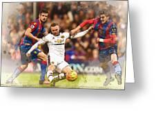 Wayne Rooney Shoots At Goal Greeting Card