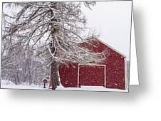 Wayside Inn Red Barn Covered In Snow Storm Reflection Greeting Card