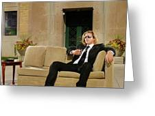 Wealthy Young Man In Suit Sitting On A Couch With A Drink On A T Greeting Card