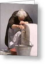 Weary Elderly Woman In Greece Greeting Card