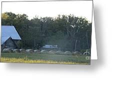Weathered Barn And Hay Bales  Greeting Card