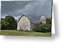 Weathered Barn And Silo Under A Cloudy Sky Greeting Card