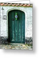 Weathered Green Door Greeting Card