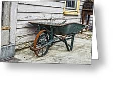 Weathered Green Wheelbarrow Greeting Card