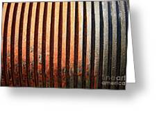 Weathered Metal With Rows Greeting Card