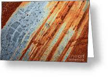 Weathered Metal With Stripes Greeting Card