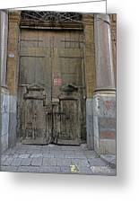 Weathered Old Door On A Building In Palermo Sicily Greeting Card
