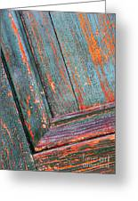 Weathered Orange And Turquoise Door Greeting Card