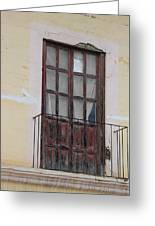 Weathered Red Door On A Balcony Greeting Card