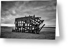 Weathered Rusting Shipwreck In Black And White Greeting Card