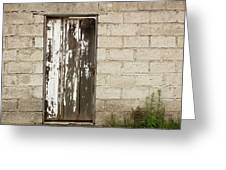 Weathered White Wood Door Greeting Card