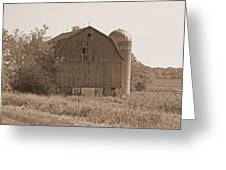 Weathered Wisconsin Barn In Sepia Greeting Card