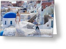 Wedding At Santorini Greeting Card