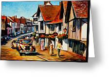 Wedding Day In Lavenham-suffolk-england - Palette Knife Oil Painting On Canvas By Leonid Afremov Greeting Card