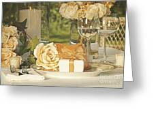 Wedding Party Favors On Plate At Reception Greeting Card
