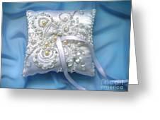Wedding Ring Pillow. Ameynra Beadwork Greeting Card