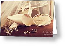 Wedding Shoes With Veil And Rings On Velvet Chair Greeting Card by Sandra Cunningham