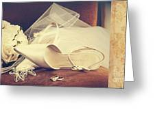 Wedding Shoes With Veil On Velvet Chair Greeting Card by Sandra Cunningham