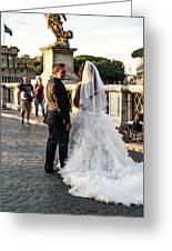 Wedding Stroll On The Ponte Sant'angelo Greeting Card