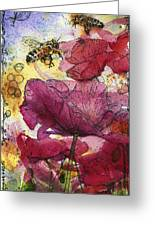 Wee Bees And Poppies Greeting Card