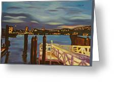 Weehawken From Pier 78 Greeting Card by Milagros Palmieri