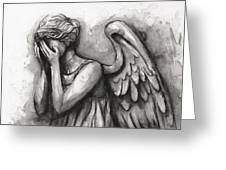 Weeping Angel Watercolor Greeting Card