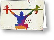 Weightlifter Paint Splatter Greeting Card