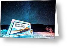 Welcome Sign To Death Valley National Park California At Night Greeting Card