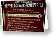 Welcome Silver Terrace Cemeteries Greeting Card