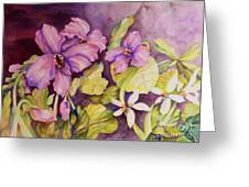 Welcome Spring Violets Greeting Card
