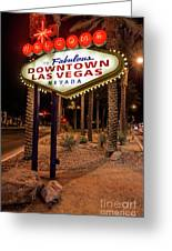 R.i.p. Welcome To Downtown Las Vegas Sign At Night Greeting Card