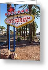R.i.p. Welcome To Downtown Las Vegas Sign Day Greeting Card