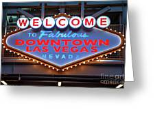 Welcome To Downtown Las Vegas Sign Slotzilla Greeting Card