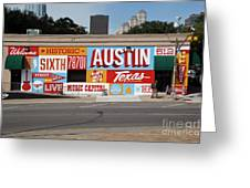 Welcome To Historic Sixth Street Is A Famous Mural Located At 6th Street And I-35 Frontage Road, Austin, Texas - Stock Image Greeting Card
