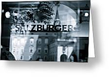 Welcome To Salzburg Greeting Card by Dave Bowman