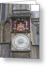 Wells Cathedral Outside Clock Greeting Card