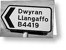 Welsh Rural Roadsign For B Road On Anglesey Wales Uk Greeting Card