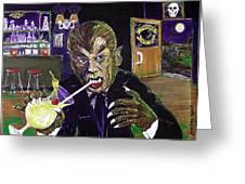 Werewolf Drinking A Pina Colada At Trader Vic's Greeting Card