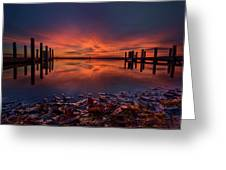 West Boat Launch Fall Sunrise Greeting Card
