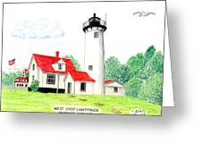 West Chop Lighthouse Greeting Card by Frederic Kohli
