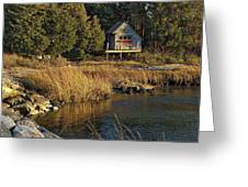 West Falmouth Boathouse Greeting Card