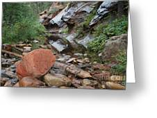 West Fork Trail River And Rock Horizontal Greeting Card