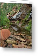 West Fork Trail River And Rock Vertical Greeting Card