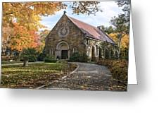 West Parish Chapel In Fall, Andover, Ma Greeting Card