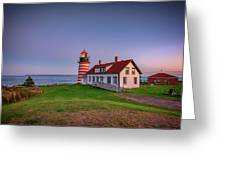 West Quoddy Head Light At Dusk Greeting Card