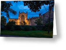West Side Of Hexham Abbey At Night Greeting Card
