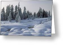 West Thumb Snow Pillows Greeting Card